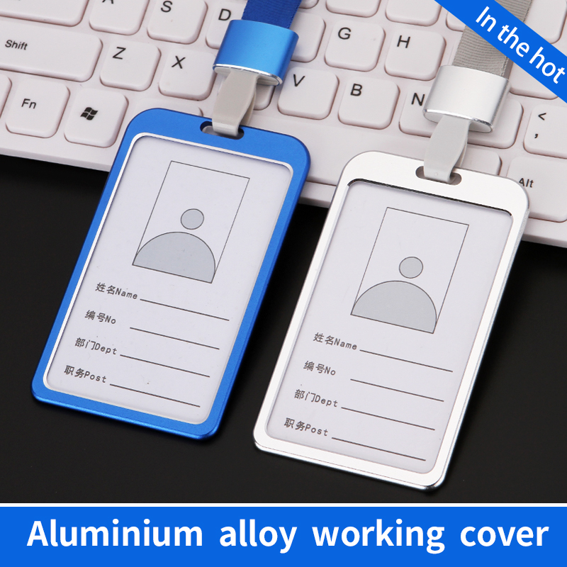 New Aluminum Alloy Business Work Card ID Badge And Adjustable Lanyard Holders fQ
