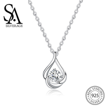 SA SILVERAGE Necklaces Silver Zircon Necklace Female S925 Sterling Womens Chain Designer Jewelry Personalized