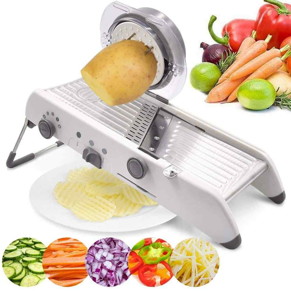 Xyj Mandoline Slicer Cutter Multifungsi Manual Vegetable Cutter Parutan Dapat Disesuaikan 304 Pisau Stainless Steel Alat Dapur
