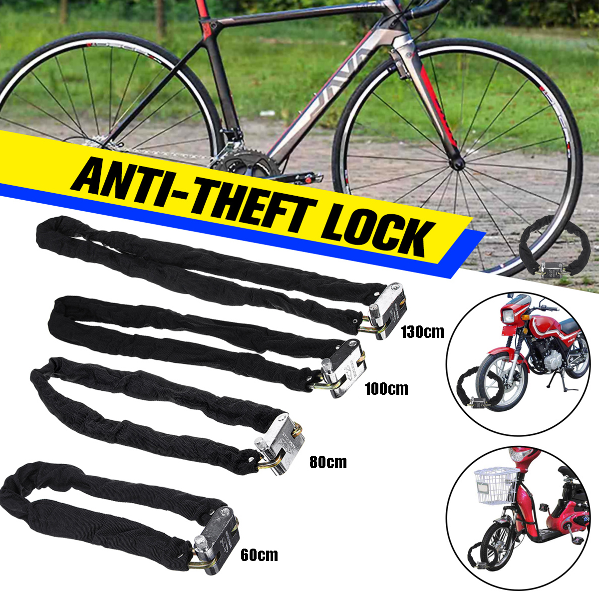 Cloth Covered Square Head Motorcycle Anti-Theft Lock Bicycle E-Bicycle Motorcycle Chain Lock Scooter Door Chain Lock Security