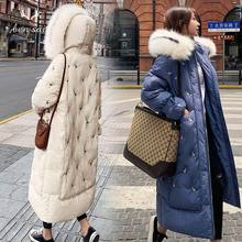 Women Fashion Warm Cotton Winter Long Coat Windproof Natural Fur Hooded Thicken Zipper Pocket New