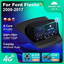 Radio del coche para Ford Fiesta 2009-2017 Android 9,0 2 Din de 9 pulgadas Multimedia estéreo Carplay de navegación GPS reproductor de DVD del coche Bluetooth