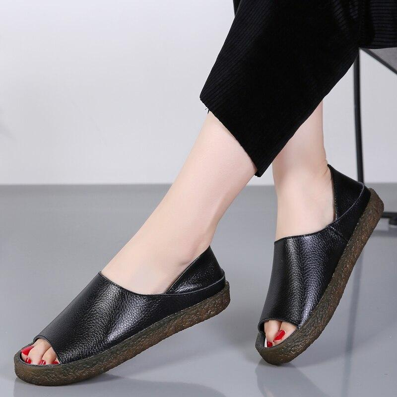 Image 5 - BEYARNEHandmade genuine leather flat sandals for women, casual summer shoes, gladiator sandals for women, large size 35 43E045Womens Sandals   -