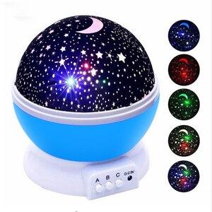 Image 1 - Светодиодный Ночной светильник, проектор со звездами, звездное небо, луна, лампа, батарея, USB, детские подарки, детская лампа для украшения спальни, Прямая поставка