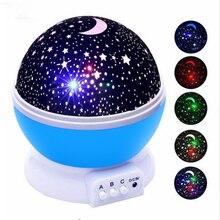 Led night light projetor estrelas céu estrelado lua lâmpada bateria usb crianças presentes quarto decoração lâmpada de projeção dropshipping