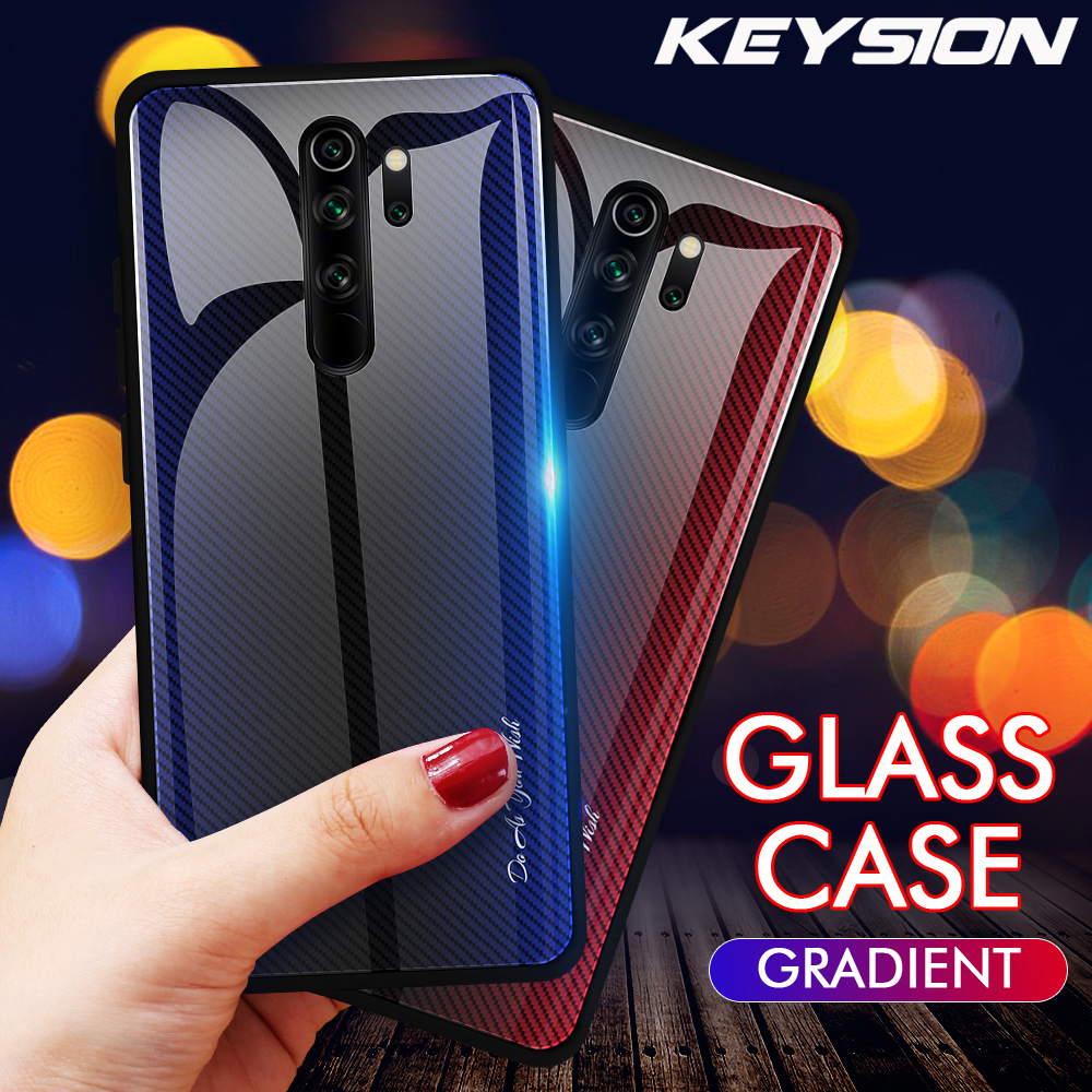 KEYSION Gradient Tempered Glass Case for <font><b>Xiaomi</b></font> <font><b>Redmi</b></font> Note 8 Pro <font><b>7</b></font> 6 K20 Shockproof <font><b>Back</b></font> <font><b>Cover</b></font> for <font><b>Xiaomi</b></font> Mi 9T Pro Mi 9 SE A3 image