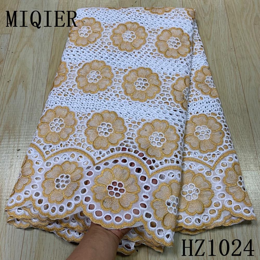 MIQIER 2020 Hohe Qualität Afrikanische Spitze Stoff Baumwolle Stoff Stickerei Schweizer Französisch Tüll Spitze Reine Baumwolle 2,5 Yards Spitze Stoff