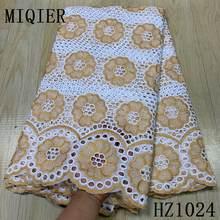 Miqier 2020 alta qualidade tecido de renda africano tecido algodão bordado suíço francês tule renda puro algodão 2.5 metros tecido do laço
