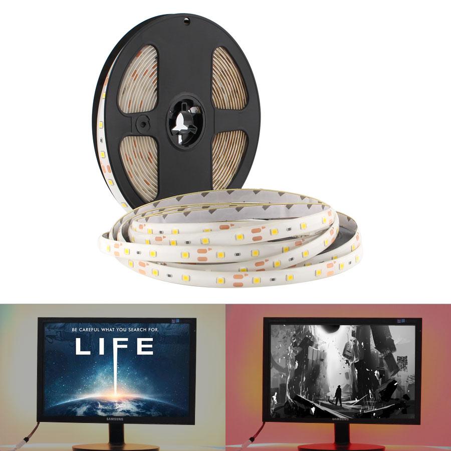 5V USB LED Strip Light TV Backlight 2835 5 V 5M Not Waterproof Warm White Cable USB LED Strips Lamp Tape Decor for TV Backlight