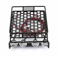RC Car Universal Roof Rack Luggage Carrier With 4 Round LED Lights 1/10 RC Rock Crawler Axial SCX10 D90 TRX-4