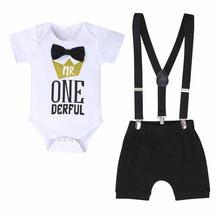 Erkek bebek giysileri bir yıl doğum günü yenidoğan toddler bebek erkek 1st mektup beyefendi doğum günü Romper sapanlar şort erkek bebek kıyafetler