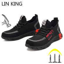 LIN KING Big Size 48 Breathable Men Satefy Shoes Steel Toe Protection Anti Stabing Work Boots Shoes Comfy Light Outdoor Sneakers дутики king boots king boots mp002xw0zwfn