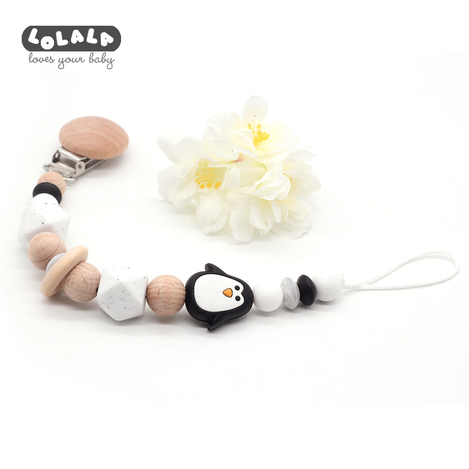 Beech Wood Pacifier Clip Wooden Beads Silicone Beads Dummy Clip Cute Penguin Pacifier Chain Baby Teeth Toy Baby Chewing