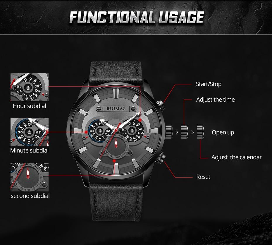 inoxidável preto relógio de pulso couro três
