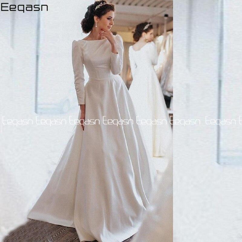 Charming Ivory Long Sleeve A-line Satin Wedding Dresses 2020 Corset Sweep Train Bridal Dress Vestido De Noiva Custom