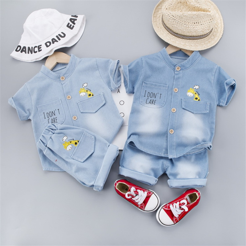 Denim Cloth Baby Boy's Clothes Casual Sport Baby Boys Clothes Print T-shirt+Short Pants 2pcs Set Baby Summer Clothes Outfits