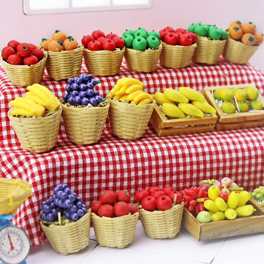 1/12 Миниатюрные аксессуары для кукольного домика, мини-корзина для фруктов из смолы, имитация апельсинового яблока, винограда, модель