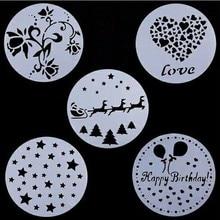 5 шт./лот пластиковые формы для выпечки цветочный спрей трафареты украшения приспособления для выпечки День Рождения Форма для самостоятельного изготовления торта формы помадки шаблон