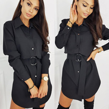 Fashion Casual Shirt Dress Fall Clothing Casual Solid Color Long Sleeve Button T