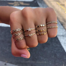 10 Pcs Vintage Gold Crystal Rings Set Hollow Star Twist Ring For Women Metal Charm Ring Boho Wedding Fashion Jewelry Party Gifts re bohemian 8pcs sets vintage gold color rings metal charm fashion rings women jewelry ring set party weeding gifts accessories