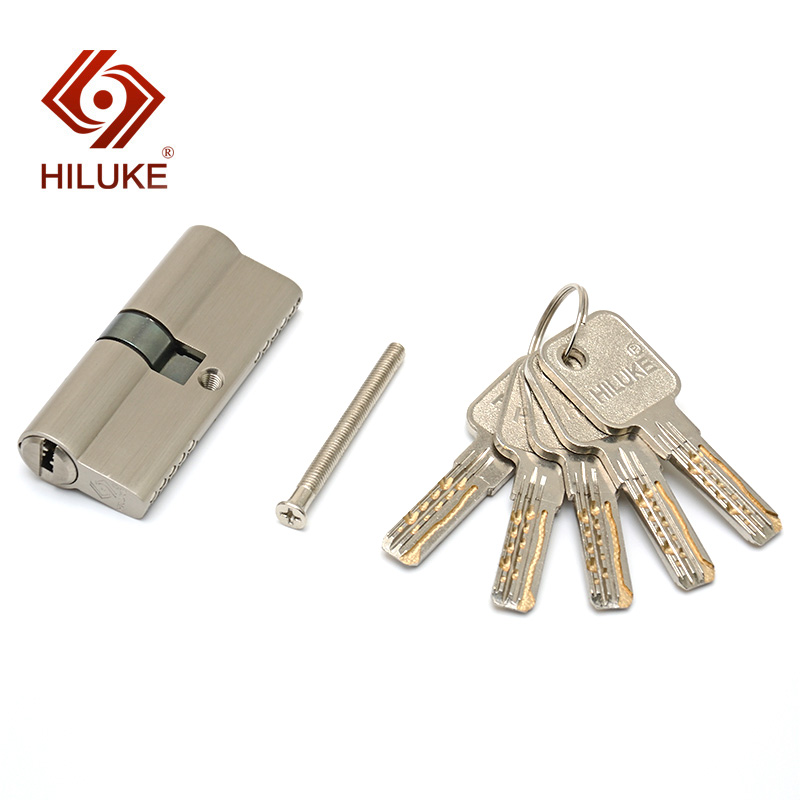 HILUKE 70mm New desigh European standard lock cylinder security door copper alloy lock core hardware E70 5C in Locks from Home Improvement