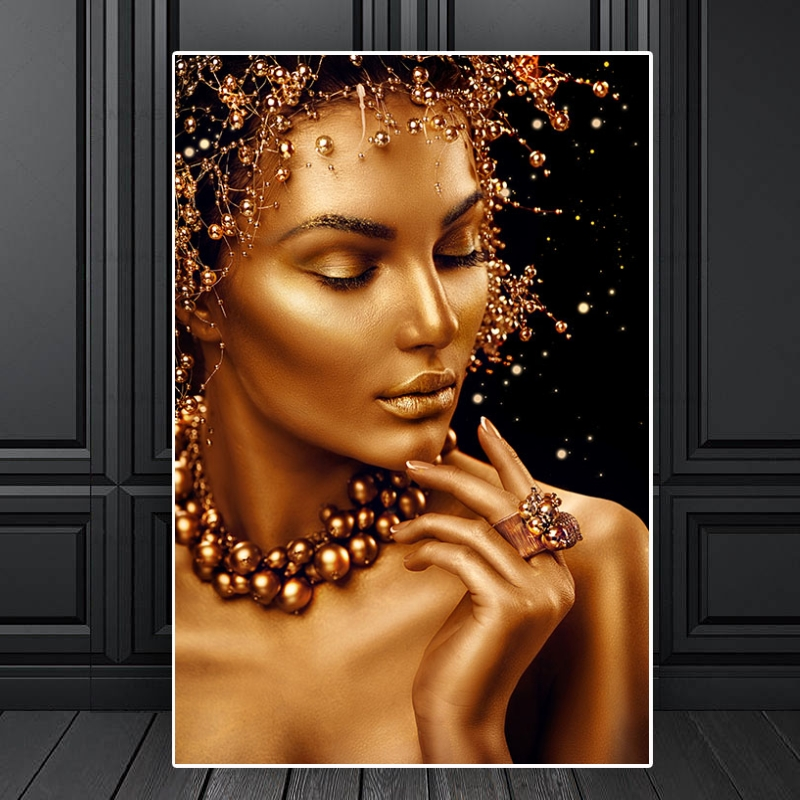 Makeup Gold Black African Woman Oil Painting on Canvas Posters and Prints Decoracion Wall Art Pictures for Living Room Decor(China)