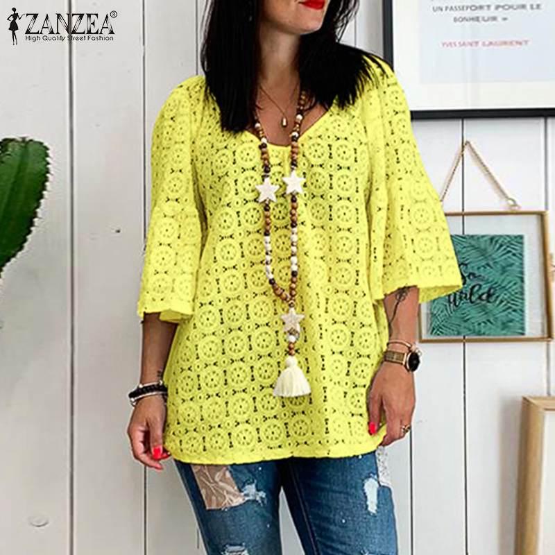 ZANZEA Summer Lace Crochet Blouse Women V Neck Flare Sleeve Shirt Hollow Out Tunic Tops Plus Size Loose Femininas Blusas Chemise