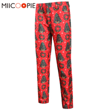 Pants Trousers Formal Red Length Fashion Brand Costume Christmas-Suit Printed Cartoons-Style