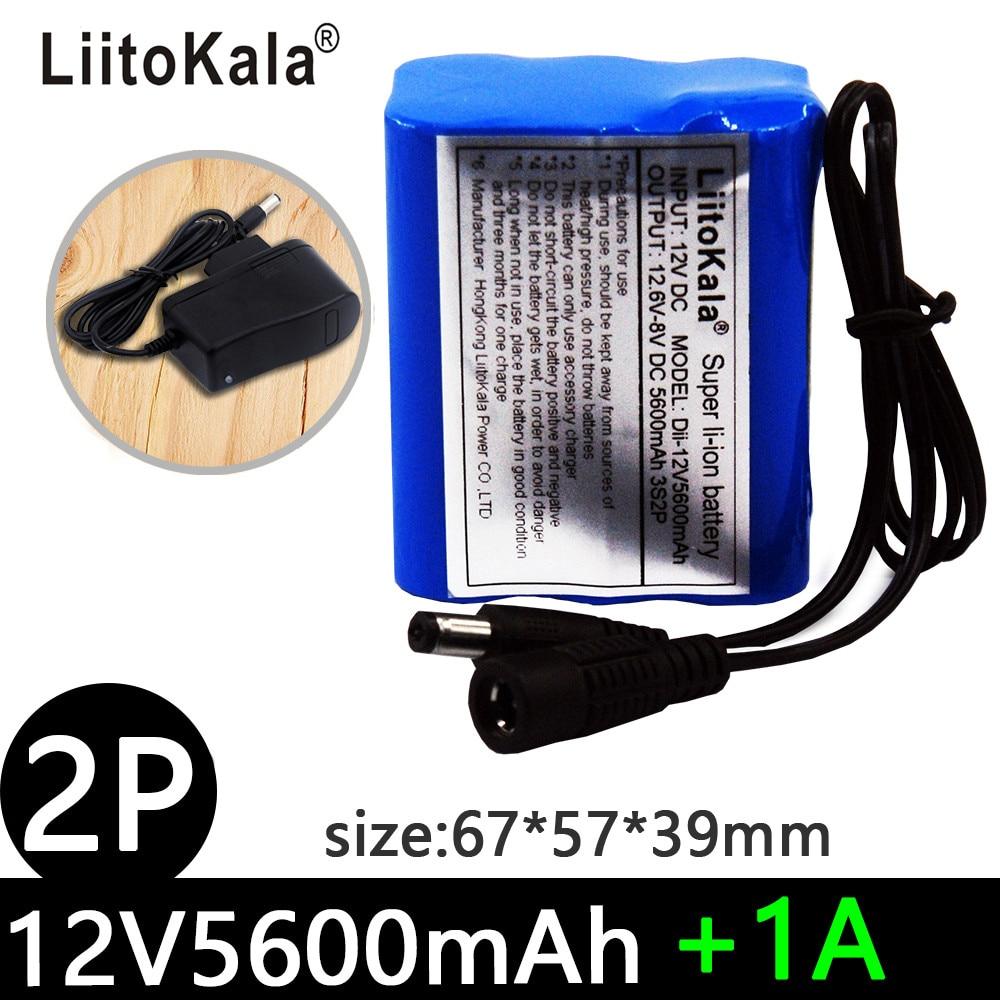 LiitoKala 12V 2200mah 3000mah 3500mah 5600mah Battery Rechargeable Lithium Ion Battery Pack Capacity DC 12.6v CCTV Cam Monitor