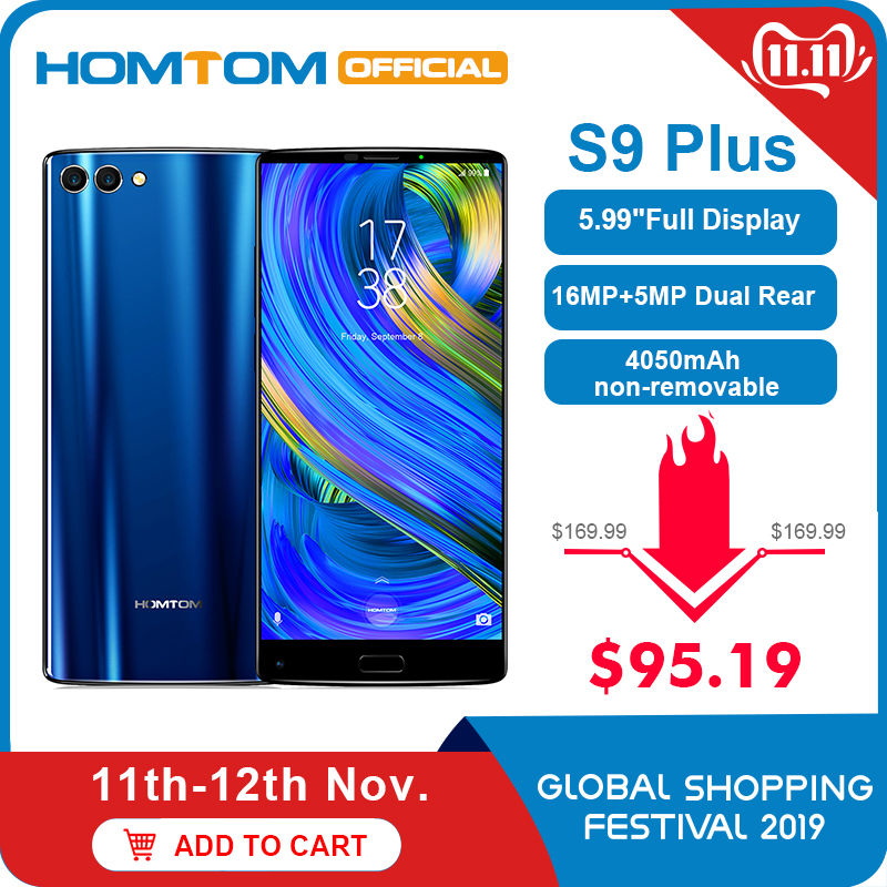 Original version HOMTOM S9 Plus 18:9HD+ 5.99 Tri-bezelless Full Display Cell phone MTK6750T Octa Core 4G+64GB 4G LTE Smartphone image