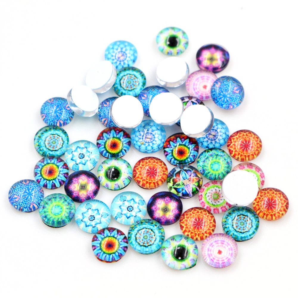 New Fashion Hot Sale 50pcs 8mm And 10mm 12mm 16mm Mixed Flower Handmade Photo Glass Cabochons