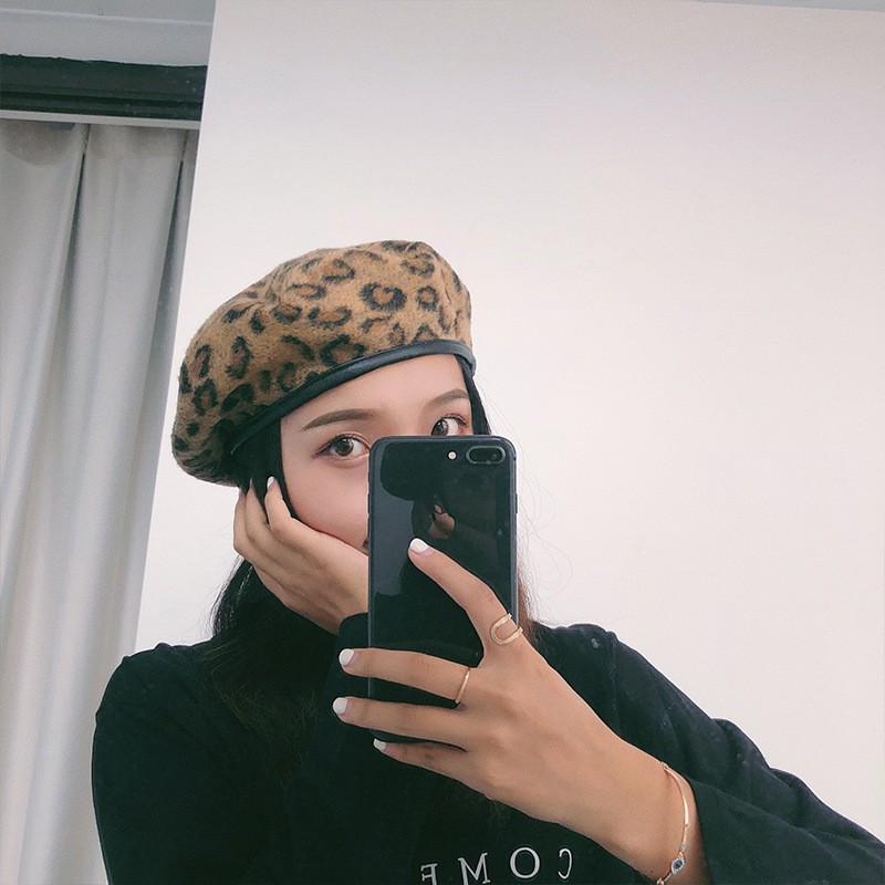 Leopard Beret Hats For Women Winter Beret Hats For Girls Soft Wool Female Flat Cap Vintage Octagonal cap Fashion Hats in Women 39 s Berets from Apparel Accessories