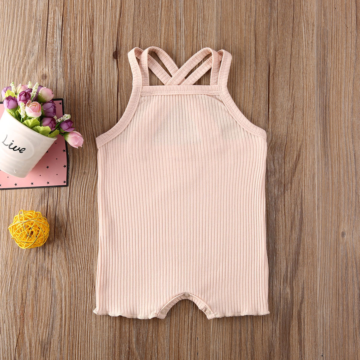 Pudcoco Newborn Baby Boy Girl Clothes Solid Color Knitted Cotton Strap Romper Jumpsuit One-Piece Outfit Sunsuit Summer Clothes