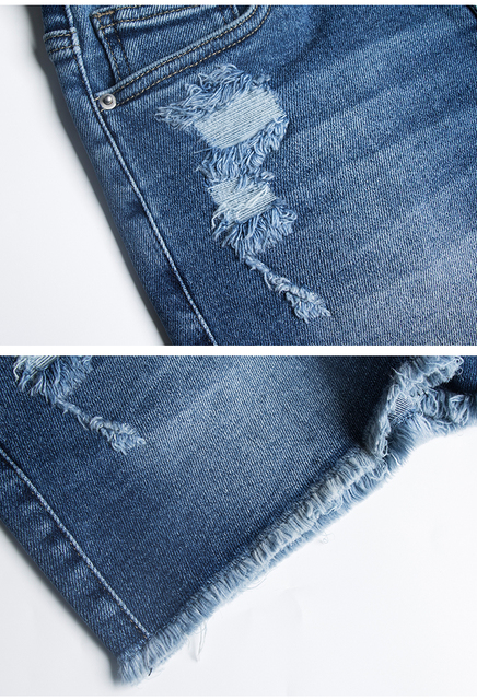 Denim Shorts Ripped on one side