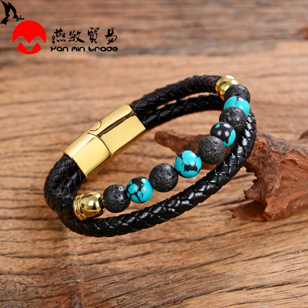 2020 New Design Genuine Leather Mens Bracelet Charms Stainless Steel Magnet 13 Style Natural Stone Beads Bracelets Men Jewelry