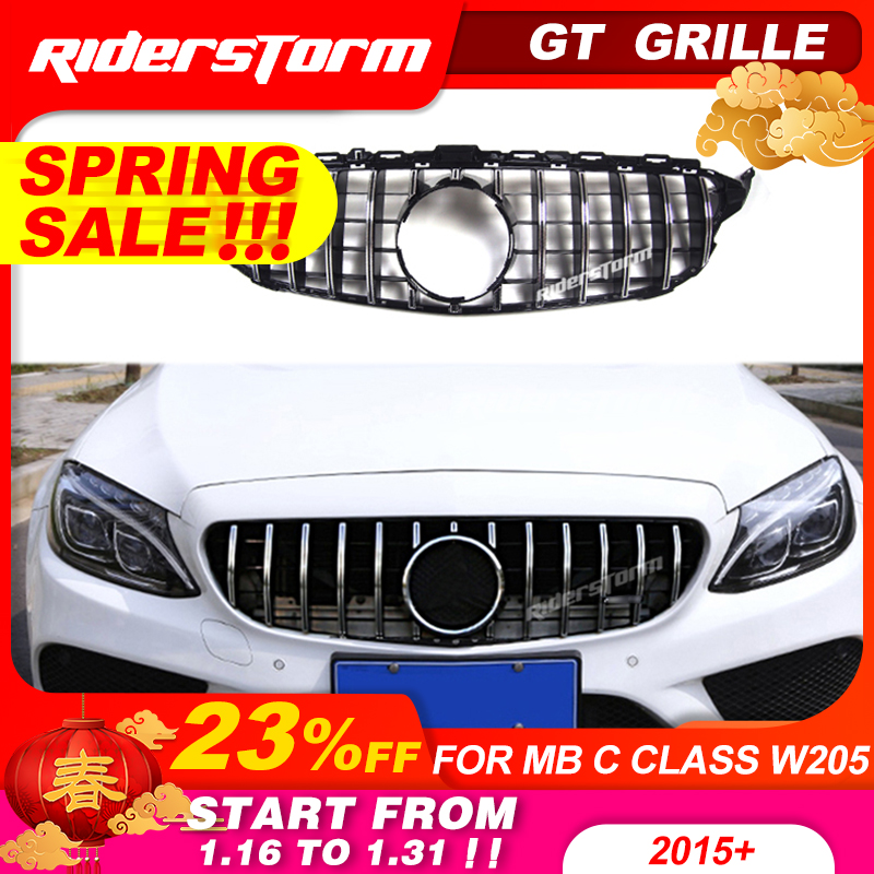 Gt grille For W205 Front GTR Grill for Mercedes Benz W205 c180 c200 c250 c300 c43 2015+ Grille 2019 front grille