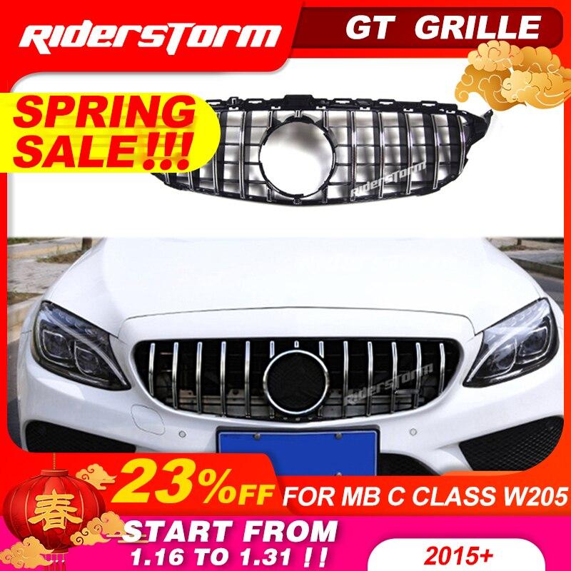 Kratka Gt dla W205 z przodu GTR Grill dla Mercedes Benz W205 c180 c200 c250 c300 c43 2015 + kratka 2019 przedni Grill