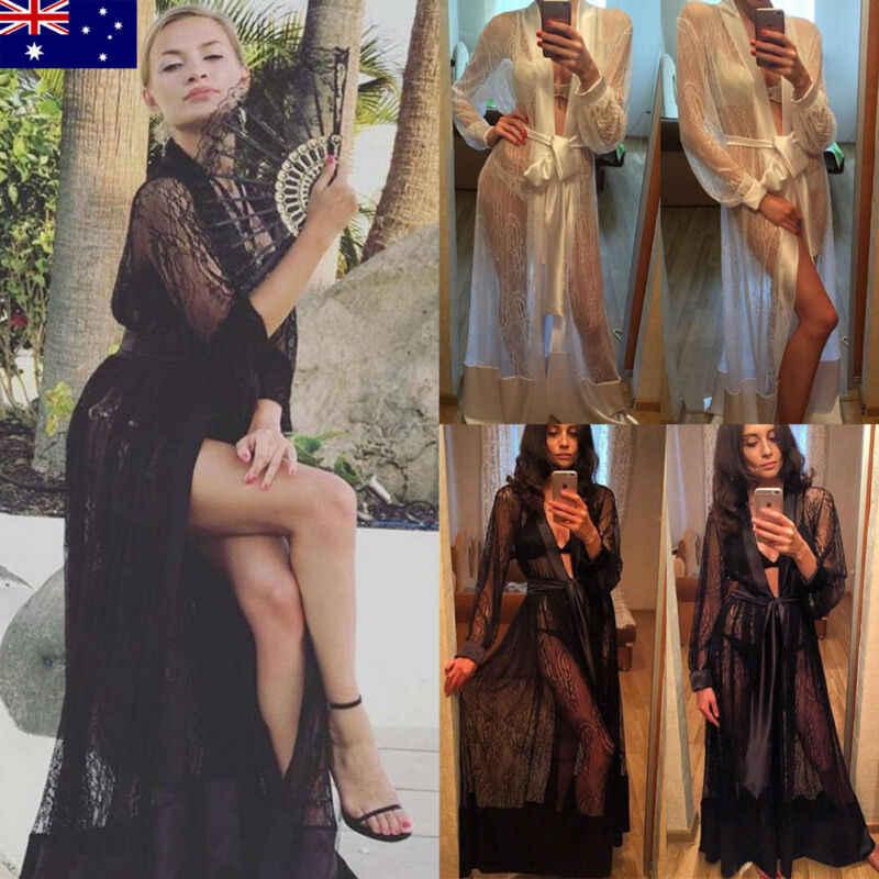 סקסי נשים Sheer חולצה רשת הלבשה תחתונה לראות דרך חלוק ארוך אמבטיה חתונה הכלה שושבינה גלימת תחרה פרחוני הלבשת כותונת