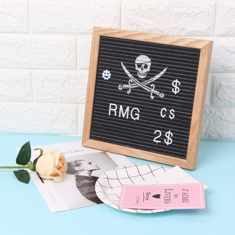 Felt Letter Board 10x10 Inch Solid Oak Wood Material With 340 White Letters Numbers Bag And Wood Easel AXYF