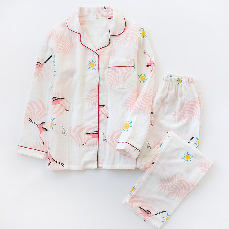 Spring And Autumn Cotton Double Layer Gauze Pajamas Women's Japanese-style Cotton Long Sleeve Thin Cotton Linen Fold-down Collar
