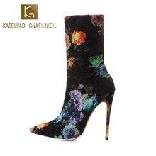 KATELVADI Print Women Winter Boots Embroidery Flock 12.5cm High Heels Stretch Fashion Ankle Plus Size 42 Shoes K-568