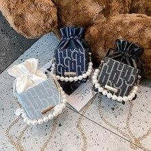 Moda damska sznurkiem kieszeń na ramię kwadratowe pudełko PU skóra kobiet perła łańcucha mała torba typu Crossbody torebka etui