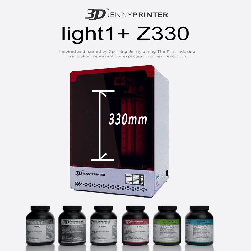 Jennyprinter light 1 + z330 LCD/SLA/DLP imprimante 3D avec grand volume d'impression 190mm * 120mm * 330mm pour les modèles de Figurine dentaire bijoux