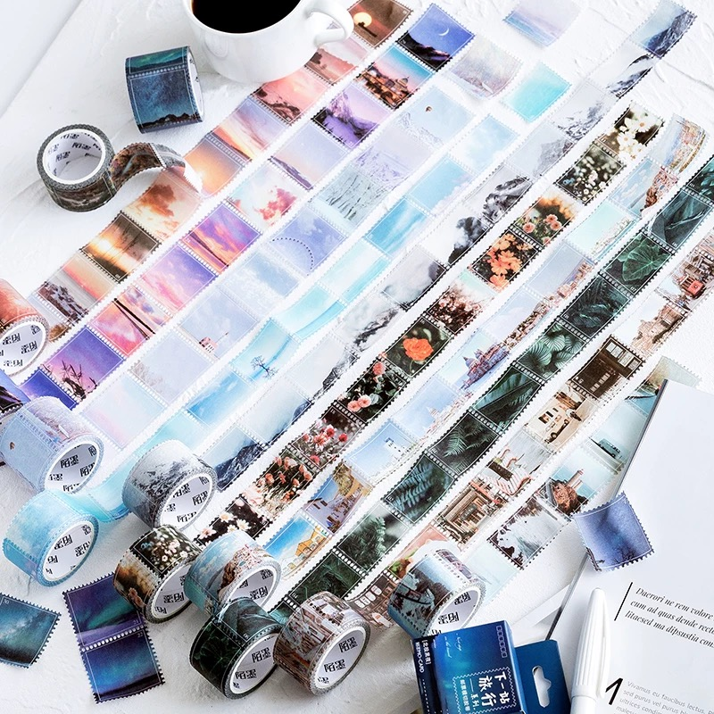 25/34.5mm Travel Landscape Masking Washi Tape Stamp Scrapbooking Creative DIY Journal Decorative Adhesive Sticker Seal Supplies