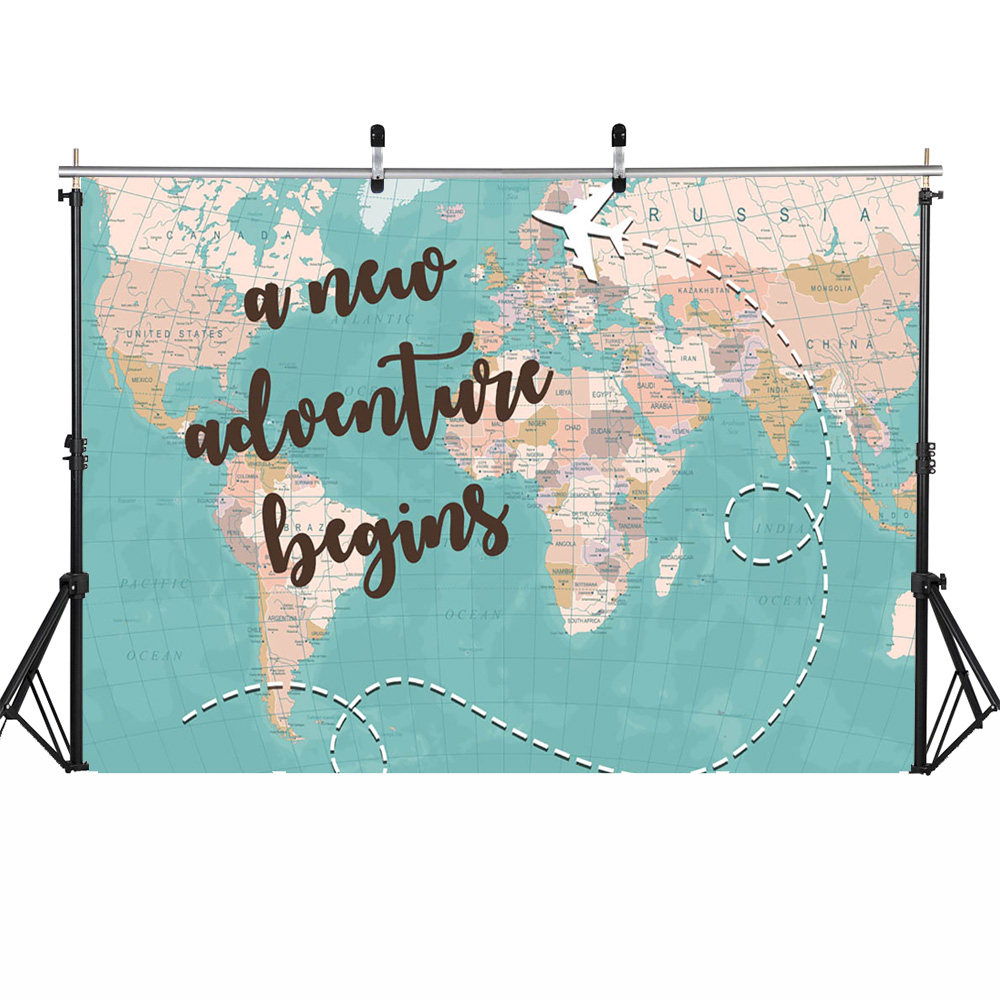 7x10 FT Vinyl Photography Background Backdrops,Life is an Adventure Quote Map of The World Small Airplane Traveling Art Print Background for Child Baby Shower Photo Studio Prop Photobooth Photoshoot