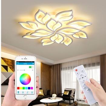 Factory direct chandelier modern bedroom remote control / smart APP living room LED ceiling light white flower acrylic hotel lig