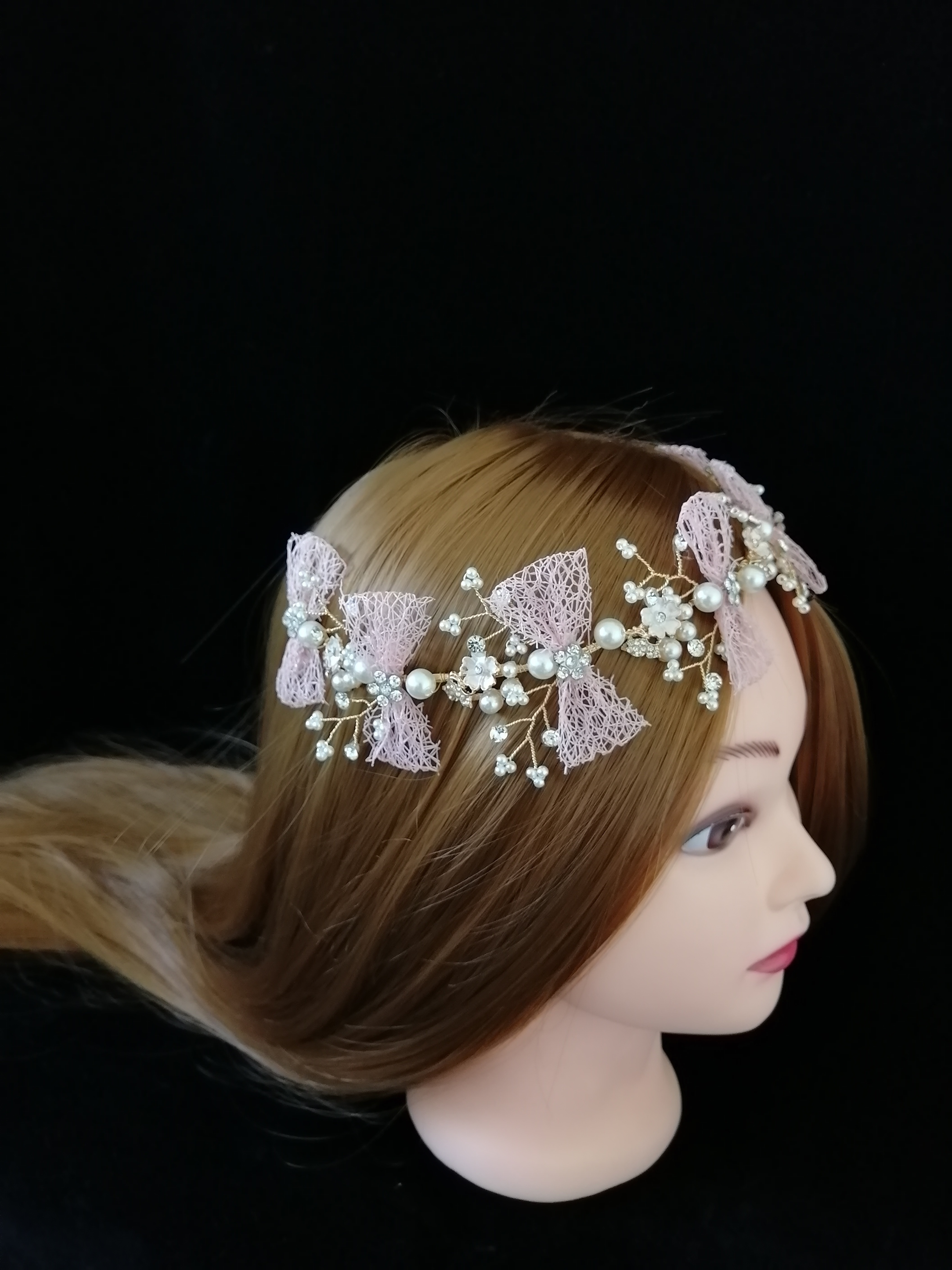 Superior Pink Bow Bridal Tiaras Headbands Hairwear Chaplet Hairdressing  Jewelry Accessories,Luxury Korean Wedding Comb
