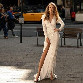 Magic Awn-vestidos de novia de sirena brillantes, manga larga, cuello en V,...