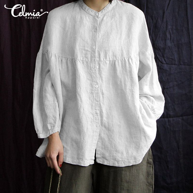 Vintage Cotton Linen Top Celmia 2020 Autumn Women Blouses Long Puff Sleeve Buttons Loose Blusas Femininas Plus Size Casual Shirt