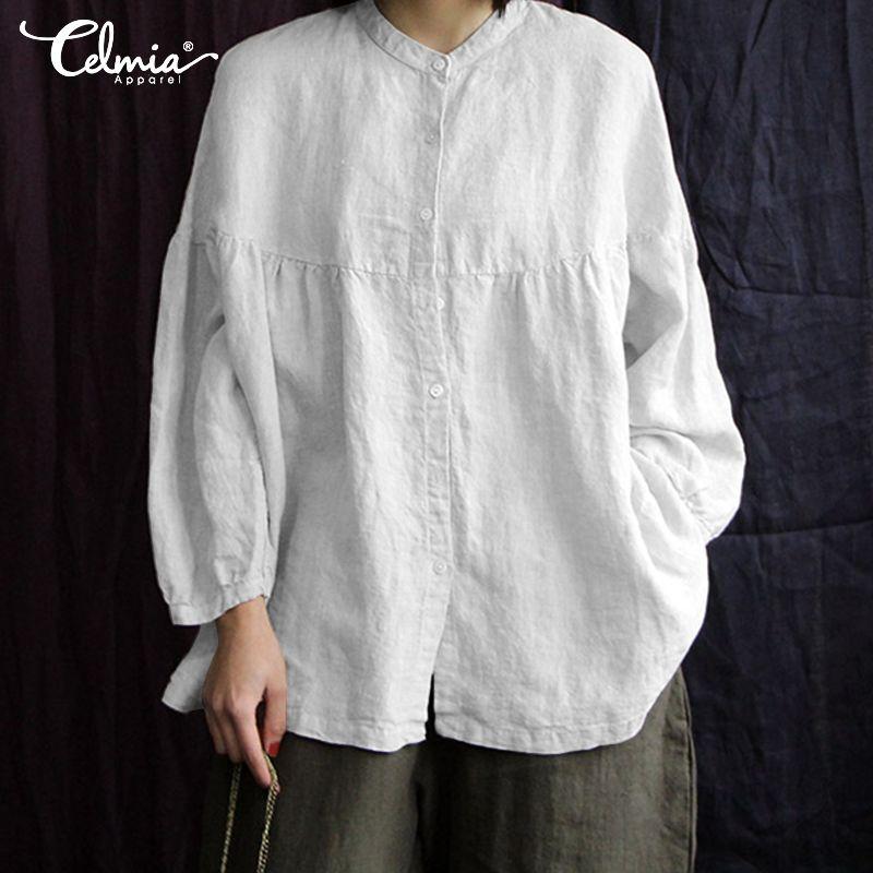 Vintage Cotton Linen Top Celmia 2020 Autumn Women Blouses Long Puff Sleeve Buttons Loose Blusas Femininas Plus Size Casual Shirt